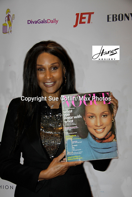 Beverly Johnson with her original Vogue cover brought by some fans to the Color of Beauty Awards honoring supermodel Beverly Johnson on February 4, 2014 at Holy Apostles, New York City, New York. (Photo by Sue Coflin/Max Photos)