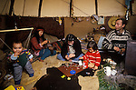 TeePee Valley near LLandeilo Wales UK. Hippy alternative Life style family living in a TeePee.<br />