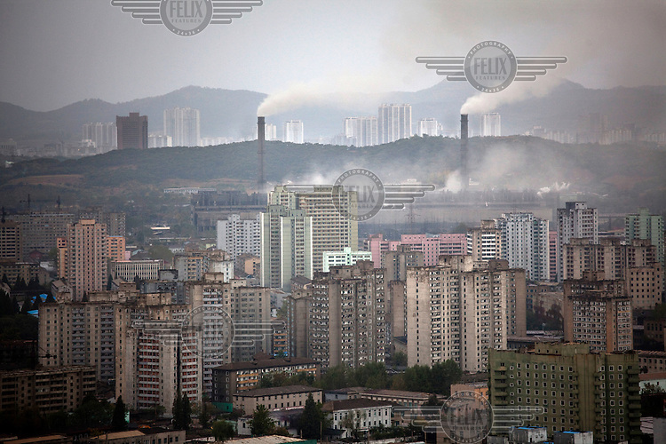 A view of apartment blocks and factories in central Pyongyang.