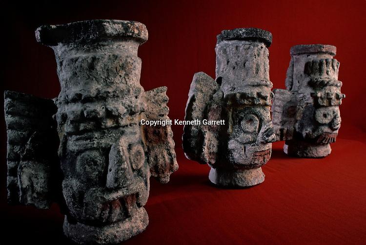 Tenochtitlan, Templo Mayor, Aztec, Mexico, Mexico City, Great Temple of the Aztecs, Tlaloc effigy, ceramic vessel.