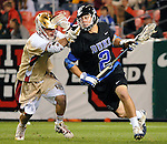 April 27, 2012:  #4 Duke's David Lawson (2) in action against the University of Denver during the Whitman's Sampler Mile High Classic, Sports Authority Field at Mile High, Denver, CO.  #16 Denver defeats #4 Duke 15-9.