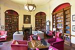 Library inside Littlecote House Hotel, Hungerford, Berkshire, England, UK