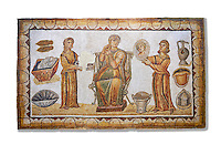 5th century Roman mosaic panel of the ceremonial dressing of a lady. The lady was of the landed gentry from inland Carthage. She is sitting on a high backed armchair and is surrounded by two ornatrix, maids, whoa re helping her to apply make up and style her hair. Items related to bathing and grooming are depicted on the background of the mosaic. The maid hold a mirror for the lady in which we see her reflection The scene is an allegory of the myth of &lsquo;Venus at her toilet&rsquo;.<br /> <br /> From the floor of the changing room of the private baths of the Sidi Ghraib villa, Borj El Amre region, Tunisia. The Bardo Museum, Tunis, Tunisia. White background