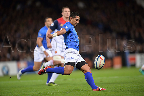 12.11.2016. Stadium Toulouse, Toulouse, France. Autumn International rugby match, France versus Samoa.  Patrick Faapale (sam) kicks for field position