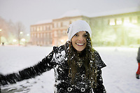 Campus Snow Day - snowball fight Drill Field and McCain - nighttime<br />