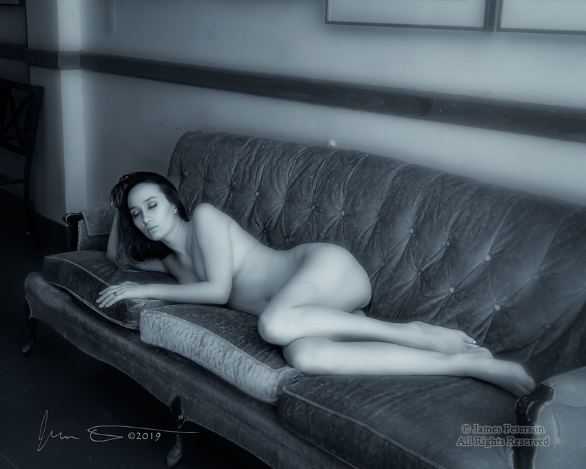 Reclining Nude (Rae, Infrared) ©2019 James D Peterson.  This is from a recent workshop at Red Bench Studio in Jerome, Arizona.  Infrared light illuminates the model's skin with a gentle, ethereal glow.