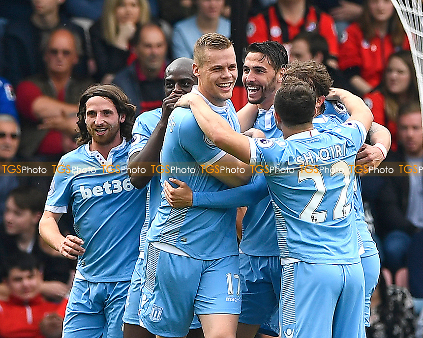 Ryan Shawcross of Stoke City middle leads the celebrations after going 1-0 up after an own goal scored by Lys Mousset of AFC Bournemouth during AFC Bournemouth vs Stoke City, Premier League Football at the Vitality Stadium on 6th May 2017