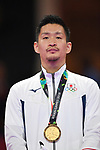 € Ryutaro Araga (JPN), <br /> AUGUST 27, 2018 - Karate : Men's Kumite -84kg Victory ceremony at Jakarta Convention Center Plenary Hall during the 2018 Jakarta Palembang Asian Games in Jakarta, Indonesia. <br /> (Photo by MATSUO.K/AFLO SPORT)