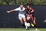 26 October 2014: Boston College's Stephanie McCaffrey (9) and Duke's Schuyler DeBree (left). The Duke University Blue Devils hosted the Boston College University Eagles at Koskinen Stadium in Durham, North Carolina in a 2014 NCAA Division I Women's Soccer match. Duke won the game 2-1 in overtime.