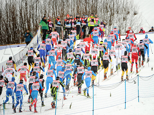 01.01.2012 Oberstdorf, Germany. FIS World Cup Tour de Ski Skiathlon the men 10km Sprint classic 10km Free style Picture shows the Runners Field