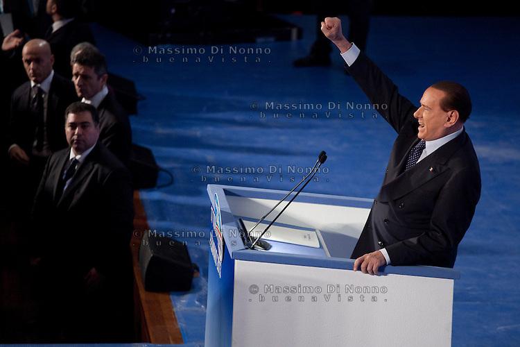 Torino: Silvio Berlusconi tiene il suo comizio al Lingotto di Torino durante la campagna elettorale 2013