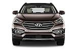 Car photography straight front view of a 2016 Hyundai Santa-Fe Executive 5 Door Suv Front View