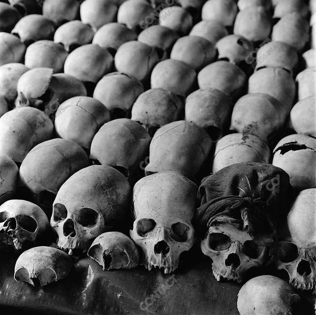 Victims' skulls at Ntarama Church, Rwanda, 2002