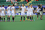 The Hague, Netherlands, June 10: Players of Germany line up prior to the field hockey group match (Men - Group B) between Germany and Korea on June 10, 2014 during the World Cup 2014 at Kyocera Stadium in The Hague, Netherlands. Final score 6-1 (3-0) (Photo by Dirk Markgraf / www.265-images.com) *** Local caption *** Oliver Korn #18 of Germany, Tobias Hauke #13 of Germany, Christopher Zeller #19 of Germany, Thilo Stralkowski #26 of Germany,Benjamin Weiss #15 of Germany