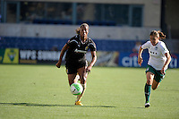 FC Gold Pride defender Kandace Wilson (9) speeds away from Red Stars defender Lydia Vanderbergh (21).  The FC Gold Pride defeated the Chicago Red Stars 3-2 at Toyota Park in Bridgeview, IL on August 22, 2010