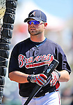 8 March 2011: Atlanta Braves catcher Brian McCann awaits his turn in the batting cage prior to a game against the New York Yankees at Champion Park in Orlando, Florida. The Yankees edged out the Braves 5-4 in Grapefruit League action. Mandatory Credit: Ed Wolfstein Photo