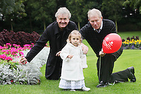 "NO REPRO FEE. World Alzheimer Day launch. 2 year old Ava O Donnell, RTE presenter Micheál O'Muircheartaigh, Minister for Older People Aine Brady T.D.and Fair City's Bryan Murray are pictured in Merrion Square Dublin to discuss a landmark report entitled ""Dementia: It's time for action!"" to mark  World Alzheimer's Day 21 September. Picture James Horan /Collins Photos"
