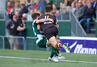 Will Foster of Ampthill RUFC and Craig Hampson of Ealing Trailfinders during the RFU Championship Cup match between Ealing Trailfinders and Ampthill RUFC at Castle Bar , West Ealing , England  on 28 September 2019. Photo by Alan  Stanford / PRiME Media Images