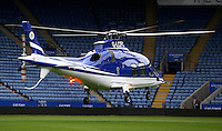 The Leicester City owner's helicopter lands at the stadium after the Barclays Premier League match between Leicester City and Swansea City played at The King Power Stadium, Leicester on 24th April 2016