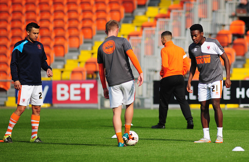 (left to right) Blackpool's Jose Miguel Cubero, John Herron and Bright Osayi-Samuel during the pre-match warm-up <br /> <br /> Photographer Kevin Barnes/CameraSport<br /> <br /> Football - The Football League Sky Bet League One - Blackpool v Swindon Town - Saturday 3rd October 2015 - Bloomfield Road - Blackpool<br /> <br /> &copy; CameraSport - 43 Linden Ave. Countesthorpe. Leicester. England. LE8 5PG - Tel: +44 (0) 116 277 4147 - admin@camerasport.com - www.camerasport.com