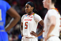 College Park, MD - March 25, 2019: Maryland Terrapins guard Kaila Charles (5) during second round game of NCAAW Tournament between UCLA and Maryland at Xfinity Center in College Park, MD. UCLA advanced to the Sweet 16 defeating Maryland 85-80.(Photo by Phil Peters/Media Images International)