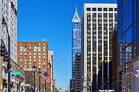 View of buildings along Fayetteville Street in downtown Raleigh, North Carolina