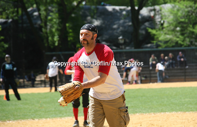 Adam Dannheisser - Rock of Ages plays in The Broadway Show League (softball) which has teams from the Broadway shows who play each other on April 29. 2010 and Thursdays throughout the summer in Central Park, New York City, New York. (Photo by Sue Coflin/Max Photos)
