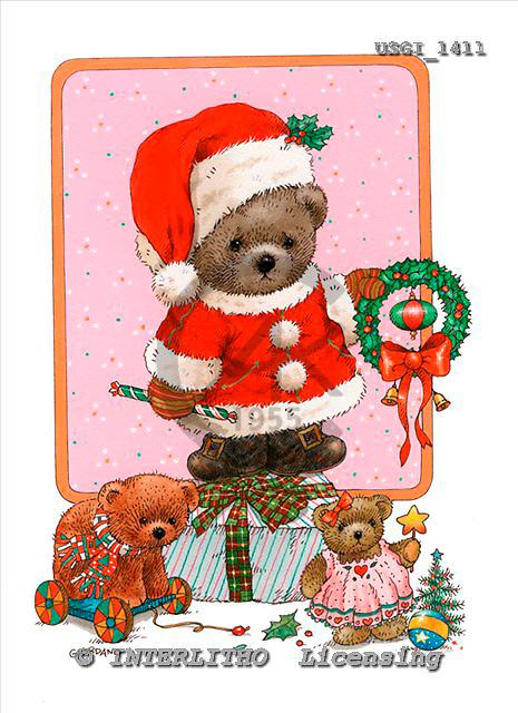 GIORDANO, CHRISTMAS ANIMALS, WEIHNACHTEN TIERE, NAVIDAD ANIMALES, Teddies, paintings+++++,USGI1411,#XA#