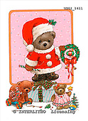 GIORDANO, CHRISTMAS ANIMALS, WEIHNACHTEN TIERE, NAVIDAD ANIMALES, Teddies, paintings+++++,USGI1411,#XA#