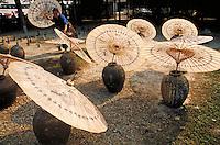 Paper umbrellas drying in sun, detail. Chiang Mai, Thailand. Chiang Mai, Thailand.