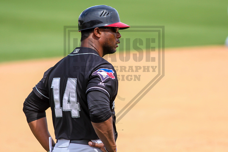Lansing Lugnuts manager Cesar Martin (14) during a Midwest League game against the Wisconsin Timber Rattlers on May 8th, 2018 at Fox Cities Stadium in Appleton, Wisconsin. Lansing defeated Wisconsin 11-4. (Brad Krause/Krause Sports Photography)