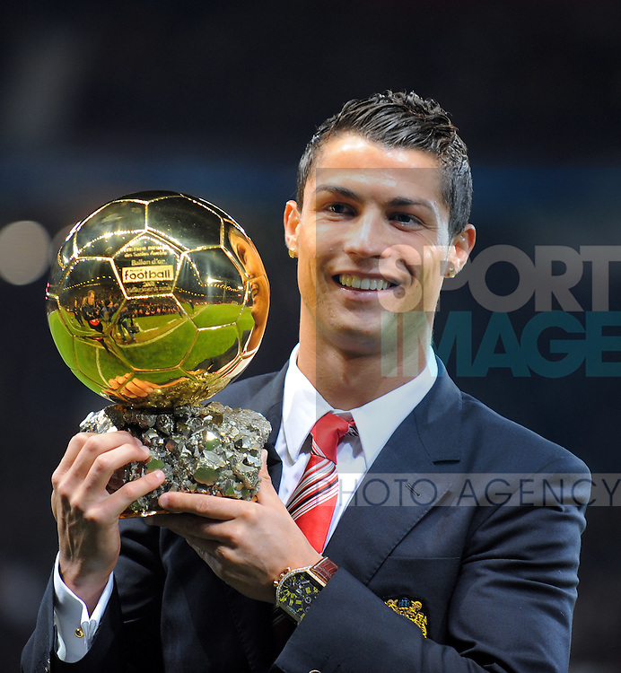 Cristiano Ronaldo of Manchester United with the Balloon D'Or