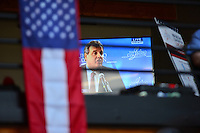 "Cleveland, OH - July 20, 2016: New Jersey Governor Chris Christie is seen on live television as he speaks at a luncheon ""Honoring Hispanic Leaders"" at the First Energy Powerhouse in Cleveland, Ohio, July 20, 2016. The event, sponsored by The Latino Coalition, occurred during the Republican National Committee Convention in Cleveland. Gov. Christie addressed the RNC convention the night before.  (Photo by Don Baxter/Media Images International)"