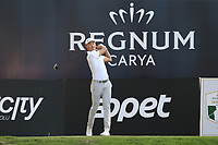 Haotong Li (CHN) tees off the 18th tee at the end of Sunday's Final Round of the 2018 Turkish Airlines Open hosted by Regnum Carya Golf &amp; Spa Resort, Antalya, Turkey. 4th November 2018.<br /> Picture: Eoin Clarke | Golffile<br /> <br /> <br /> All photos usage must carry mandatory copyright credit (&copy; Golffile | Eoin Clarke)