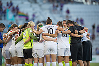 Orlando, FL - Saturday July 15, 2017: FC Kansas City huddles during a regular season National Women's Soccer League (NWSL) match between the Orlando Pride and FC Kansas City at Orlando City Stadium.