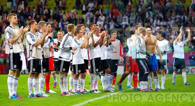 Germany celebrate after the final whistle..Euro 2012 Quarter Final match, Germany v Greece at Arena Gdansk, Gdansk, Poland on the 22nd June 2012. Pic Jake Badger/SPORTIMAGE...