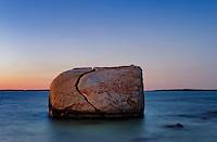 Ocean boulder, Split Rock, Makonikey Head, West Tisbury, Martha's Vineyard, Massachusetts, USA