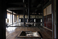 In the central room an ancient soot-encrusted length of bamboo or 'Jizai' is used to suspend a kettle over the open fire-pit