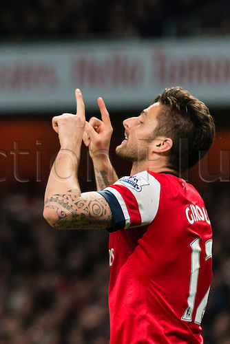 28.04.2014.  London, England.   Arsenal forward Olivier GIROUD celebrates his goal during the Barclays Premier League match between Arsenal and Newcastle United at The Emirates Stadium.