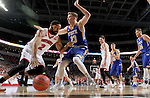 SIOUX FALLS, SD: MARCH 6: Carlton Hurst #2 from the University of South Dakota drives against  Reed Tellinghuisen #23 from South Dakota State University during the Summit League Basketball Championship on March 6, 2017 at the Denny Sanford Premier Center in Sioux Falls, SD. (Photo by Dave Eggen/Inertia)