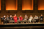 His holiness, the Dalai Lama, sits with other Nobel Laureates during the 'Creativity and Well-being' discussion at the Orpheum Theater, Sept. 29, 2009, Vancouver BC. (Scott Alexander/pressphotointl.com)