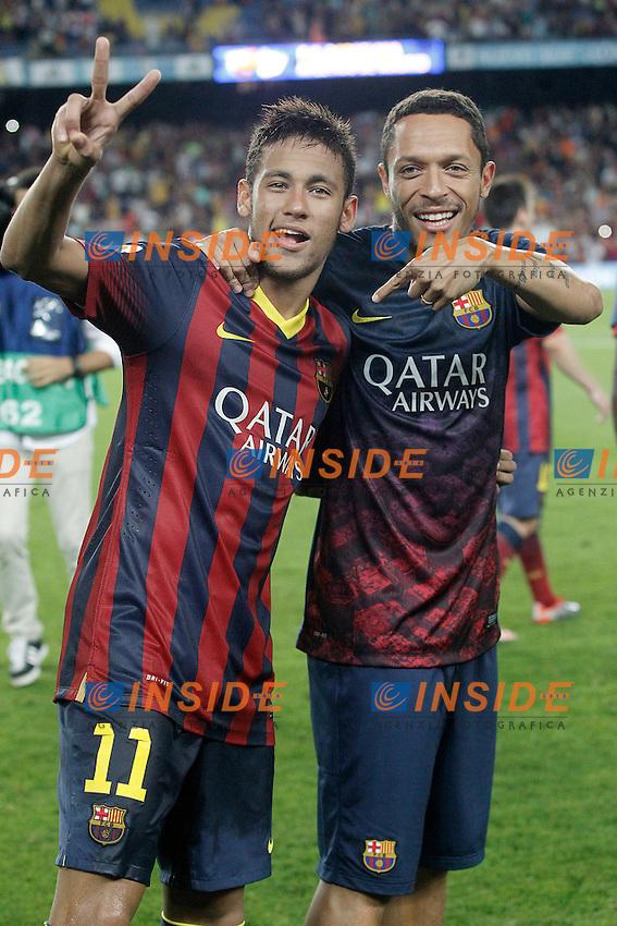 FC Barcelona's Neymar Santos Jr (l) and Adriano Correia celebrate the victory in the Supercup of Spain.August 28,2013. (ALTERPHOTOS/Acero) <br /> Football Calcio 2013/2014<br /> La Liga Spagna Supercoppa di Spagna Barcellona - Atletico MAdrid <br /> Foto Alterphotos / Insidefoto <br /> ITALY ONLY