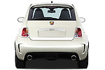 Straight rear view of a 2009 Fiat 500 Abarth 3 door hatchback
