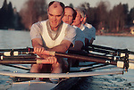 Rowing, Middle aged athletes rowing a quadruple scull, Seattle, Washington,.Lake Washington Rowing Club, released,.