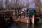 A912WE River flow monitoring station River Deben near Wickham Market Suffolk England