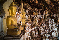 Buddha statues in a cave at Pindaya, Shan State, Myanmar (Burma)