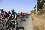The peloton including heavily bandaged Oscar Fraile (ESP) Astana Pro Team in full flight after the start of Stage 4 of the La Vuelta 2018, running 162km from Velez-Malaga to Alfacar, Sierra de la Alfaguara, Andalucia, Spain. 28th August 2018.<br /> Picture: Eoin Clarke   Cyclefile<br /> <br /> <br /> All photos usage must carry mandatory copyright credit (&copy; Cyclefile   Eoin Clarke)