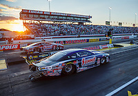 Sep 2, 2016; Clermont, IN, USA; The sun sets as NHRA pro stock driver Jason Line (near) races alongside Greg Anderson during qualifying for the US Nationals at Lucas Oil Raceway. Mandatory Credit: Mark J. Rebilas-USA TODAY Sports