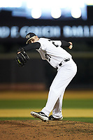 Wake Forest Demon Deacons relief pitcher Antonio Menendez (27) in action against the Sacred Heart Pioneers at David F. Couch Ballpark on February 15, 2019 in  Winston-Salem, North Carolina.  The Demon Deacons defeated the Pioneers 14-1. (Brian Westerholt/Four Seam Images)