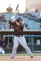 David Vidal #10 of the Bakersfield Blaze bats against the Lancaster JetHawks at The Hanger on May 13, 2014 in Lancaster California. Lancaster defeated Bakersfield, 1-0. (Larry Goren/Four Seam Images)